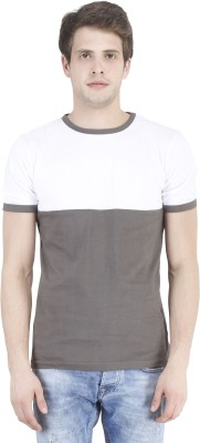 Bonzer Fashion Solid Men's Round Neck Grey, White T-Shirt