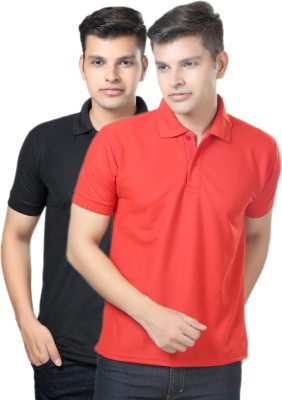 eSOUL Solid Men's Polo Neck Black, Red T-Shirt