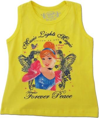 Kuddle Kid Printed Girl's Round Neck Yellow T-Shirt