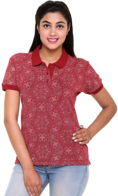 Colors & Blends Printed Women's Polo Neck Red T-Shirt