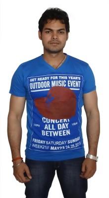Burnout Printed Men's V-neck Blue T-Shirt
