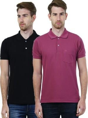 SEABOARD Solid Men's Polo Neck Black, Pink T-Shirt
