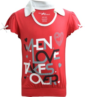Blueriver Graphic Print Girl's Polo Neck Red T-Shirt