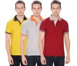 Faded Finch Solid Men's Polo Neck Yellow...