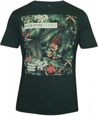 Hefty Graphic Print Men's Round Neck Dark Green T-Shirt