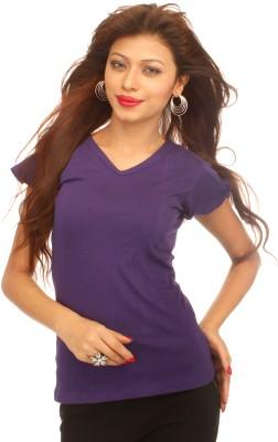 A N, E Solid Women's V-neck Purple T-Shirt