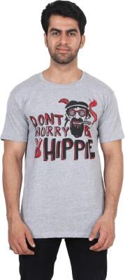 T Clobbers Graphic Print Men's Round Neck Grey T-Shirt