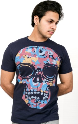 Daily Label Graphic Print Men's Round Neck Blue T-Shirt