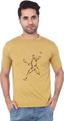 TshirtVilla Printed Men's Round Neck Brown T-Shirt