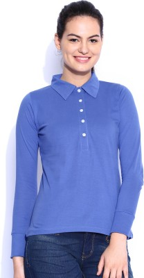Le Bison Solid Women's Polo Neck Blue T-Shirt