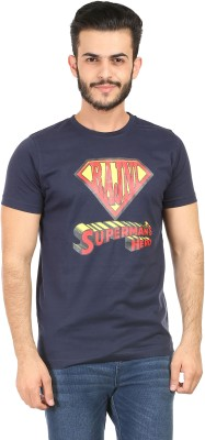 Habitude Printed Men's Round Neck Dark Blue T-Shirt