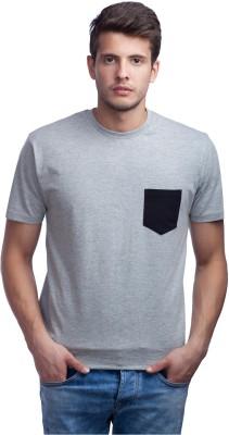 Purple Leaf Solid Men's Round Neck Grey T-Shirt