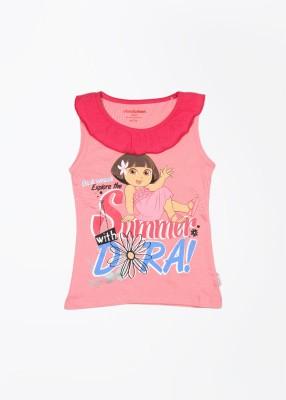 Dora Printed Girl's Fashion Neck Pink T-Shirt