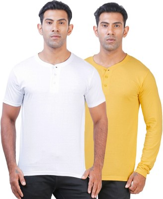 Click Hit Solid Men's Henley White, Yellow T-Shirt