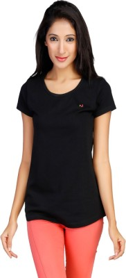 New Darling Solid Women's Round Neck Black T-Shirt