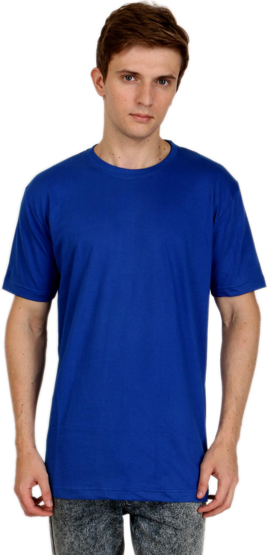 Shopping Monster Solid Men's Round Neck Blue T-Shirt