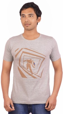 Indrow Printed Men's Round Neck Grey T-Shirt