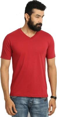 Jogur Solid Men's V-neck Red T-Shirt