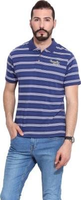 Camino Striped Men's Polo Blue T-Shirt