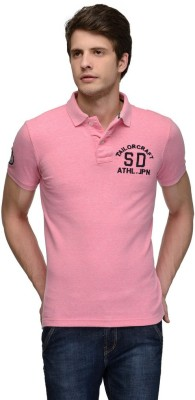 Tailor Craft Solid Men's Polo Pink T-Shirt