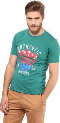 FUNK Printed Men's Round Neck Dark Green T-Shirt