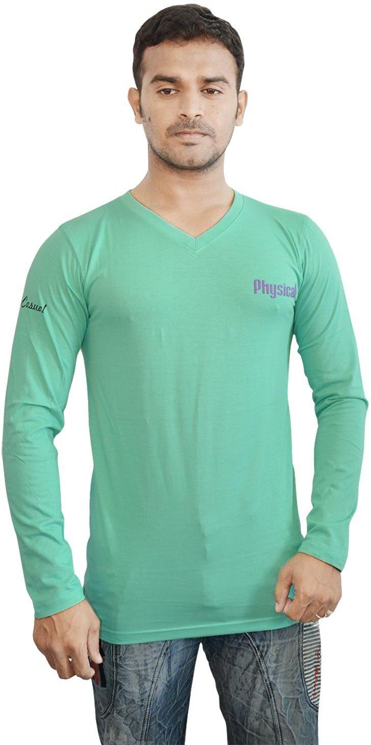 Al-Harsha Trend Solid Mens V-neck Green T-Shirt
