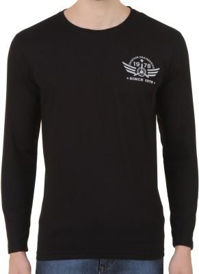 Konners Printed Men's Round Neck Black T-Shirt