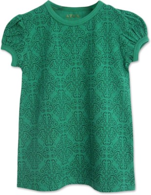 ATUN Printed Girl's Round Neck Green T-Shirt