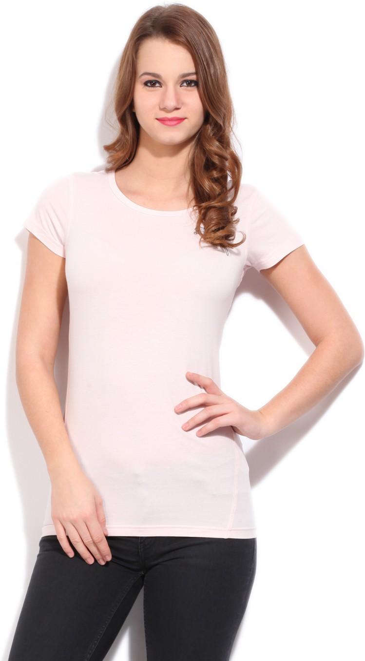 Puma Solid Women's Round Neck Pink T-Shirt