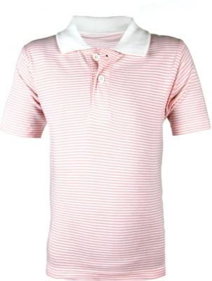 Ant Self Design Boy's Polo Neck Orange, White T-Shirt