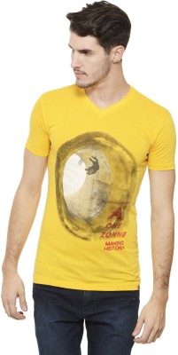 A1 Tees Printed Men's V-neck Yellow T-Shirt