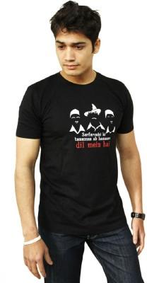 Doberman Deals Printed Men's Round Neck Black T-Shirt