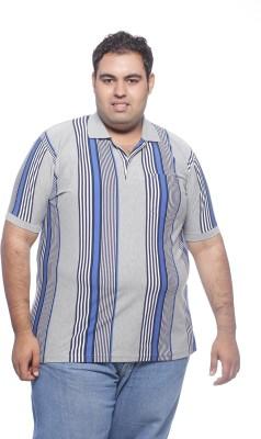 Pluss Striped Men's Polo Neck Grey T-Shirt
