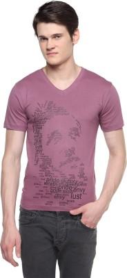Top Knit Printed Men's V-neck T-Shirt
