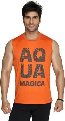 Aquamagica Printed Men's Round Neck Orange T-Shirt