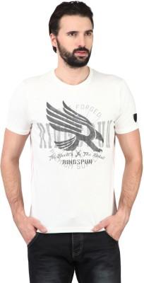 Ringspun Printed Men's Round Neck White T-Shirt