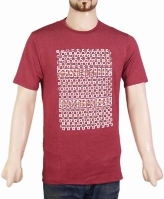 VR Designers Geometric Print Men,s Round Neck Red T-Shirt