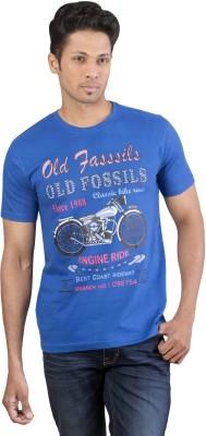 Oviyon Printed Men's Round Neck Blue T-Shirt