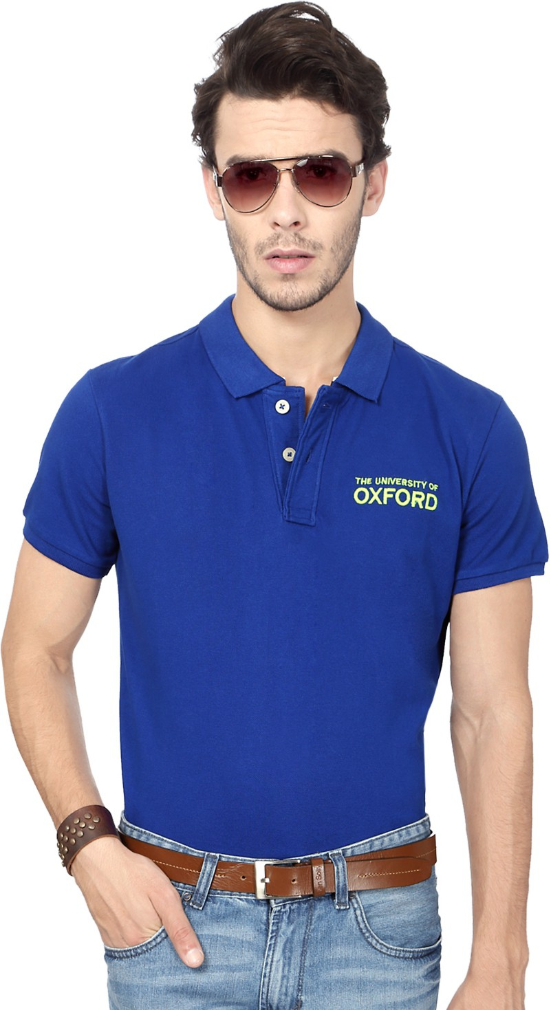 University of Oxford Solid Men's Polo Neck Blue T-Shirt