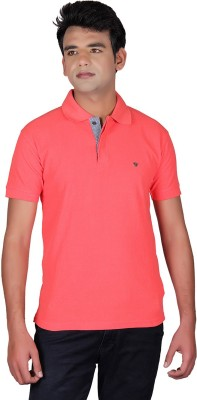Cute Collection Solid Men's Polo Neck Red T-Shirt