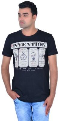 IPG Printed Men's Round Neck Black T-Shirt
