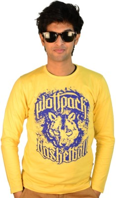 TSG Escape Printed Men's Round Neck Yellow T-Shirt