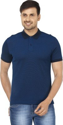 Wills Solid Men's Polo Neck Blue T-Shirt