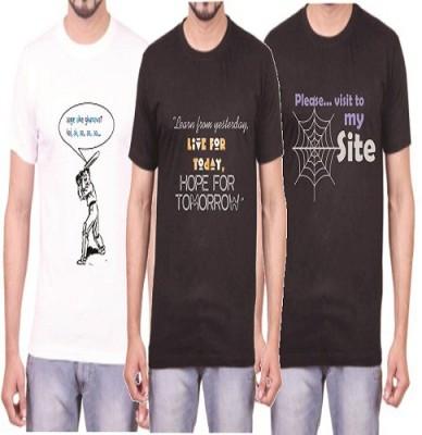 Teeswood Graphic Print Men's Round Neck White, Black T-Shirt