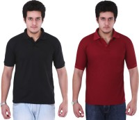 NGT Solid Men's Polo Neck Black, Maroon T-Shirt(Pack of 2)