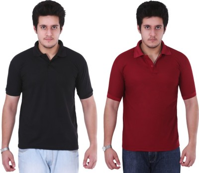 NGT Solid Men's Polo Neck Black, Maroon T-Shirt