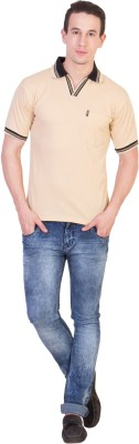 Ruby Wears Solid Men's Polo Beige T-Shirt