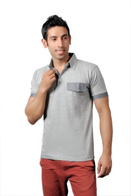 Brand Teez Solid Men's Polo Grey T-Shirt