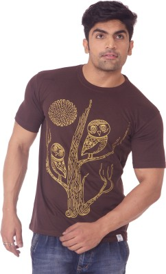 One For Blue Printed Men's Round Neck Brown T-Shirt