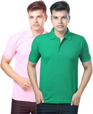eSOUL Solid Men's Polo Neck Pink, Green T-Shirt